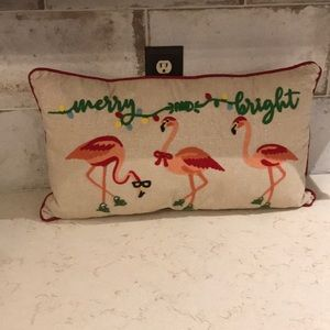 Merry & Bright flamingo Christmas pillow